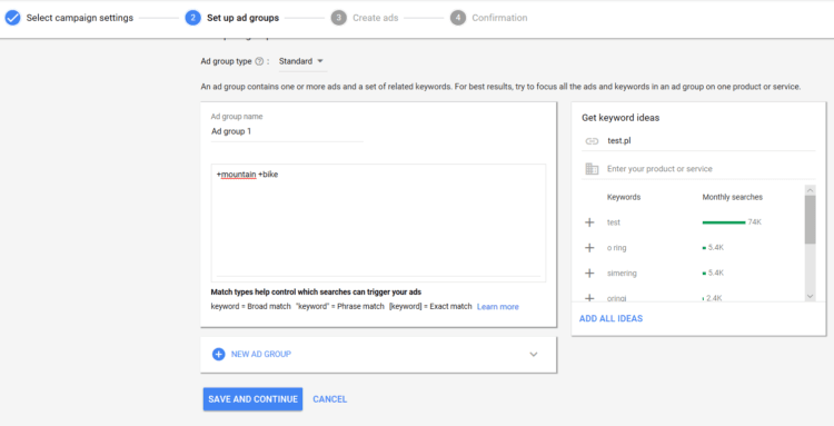 Creating ad groups
