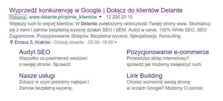 Extensions in serp - how do they look like?