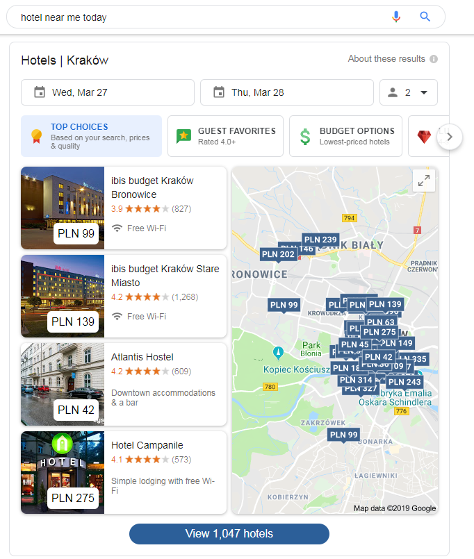 Hotel near me tonight query search results