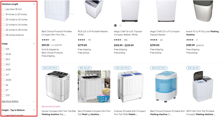 """Examples of product filters for """"washing machines""""."""