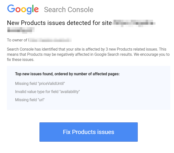 Alert in Google Search Console