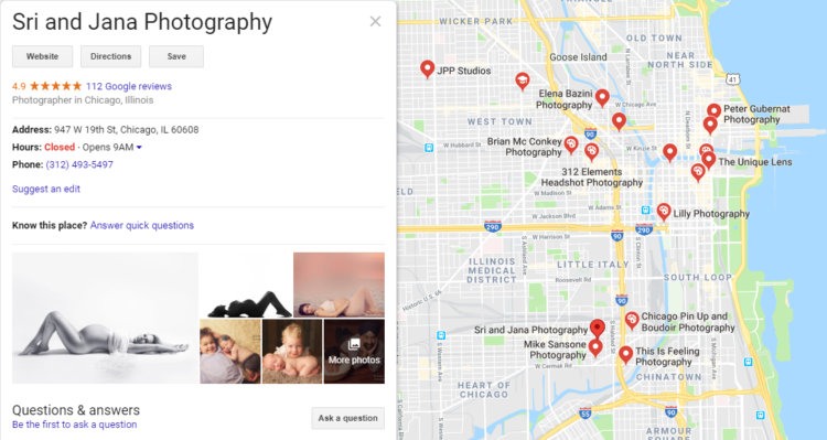 Google my Business - photographer chicago