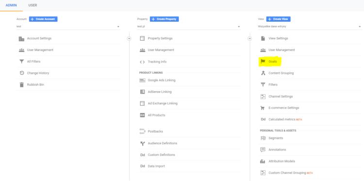 Set goals in Google