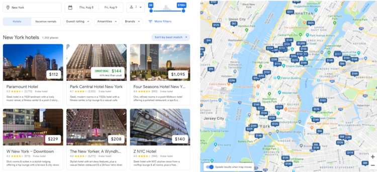 On-SERP SEO - hotels
