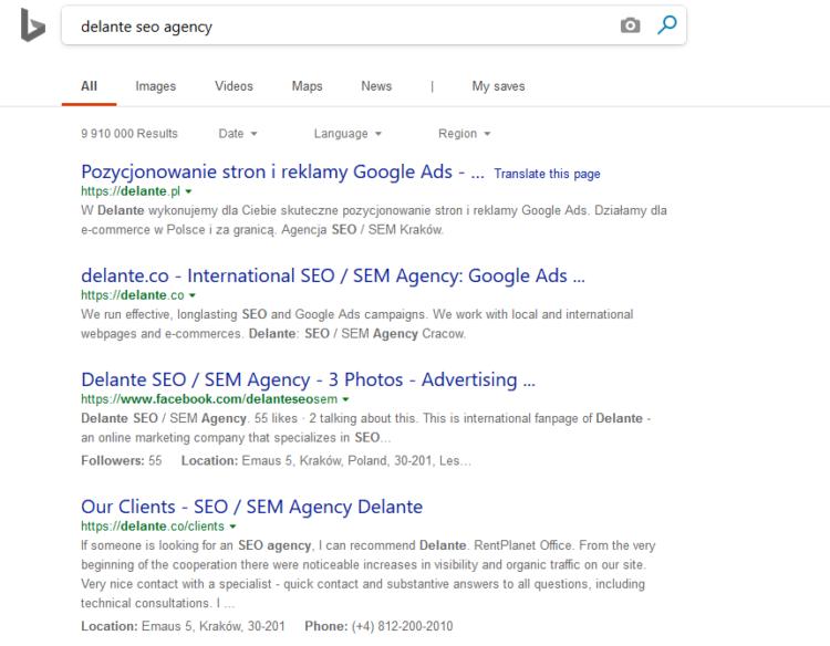 Alternatives for Google Bing