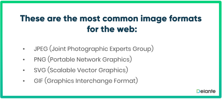 The most common formats to the web