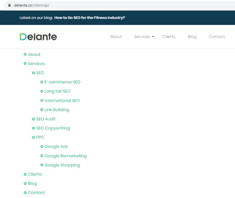 Delante sitemap for SEO