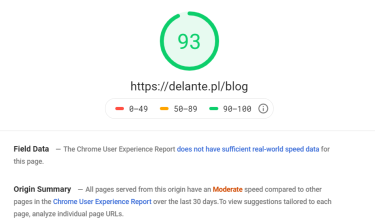 PageSpeed Insights Delante