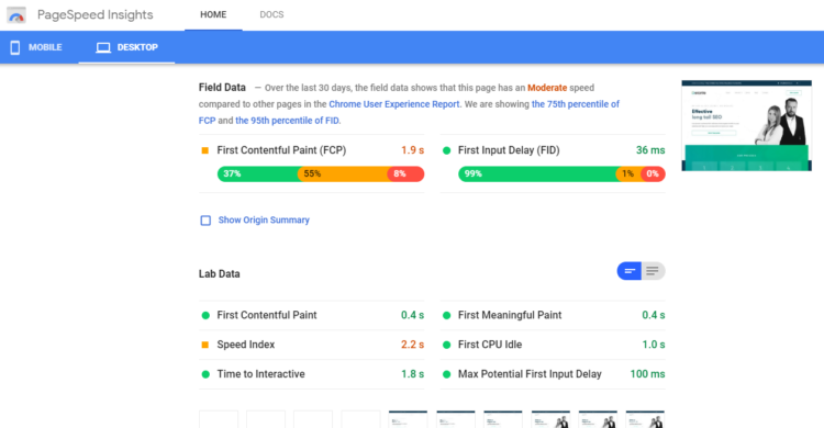 best free tools for SEO - Google's PageSpeed Insights