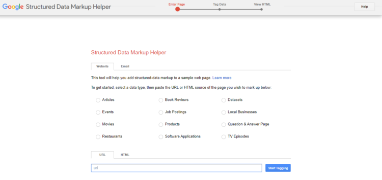 tools for SEO professionals - Google Structured Data Markup Helper