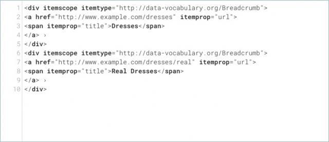 Data vocabulary breadcrumbs markup