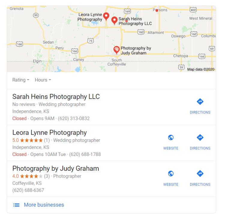 Google my business - wedding industry seo