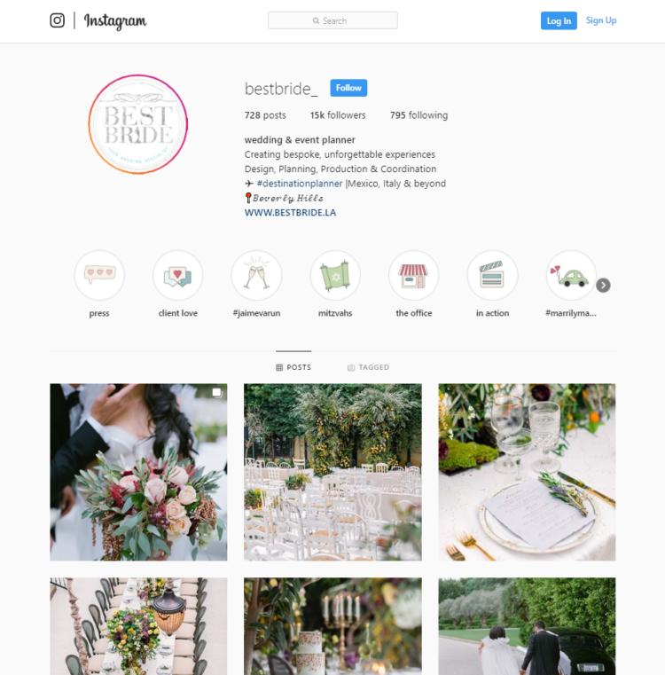 Instagram profile seo wedding industry