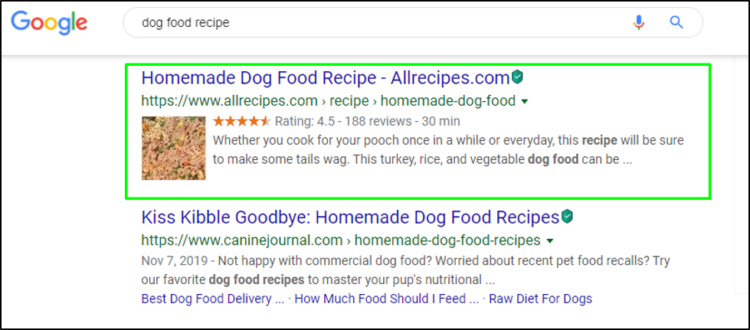 rich snippet when using structured data in SEO