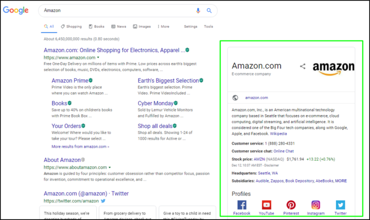 structured data and SEO - knowledge graph
