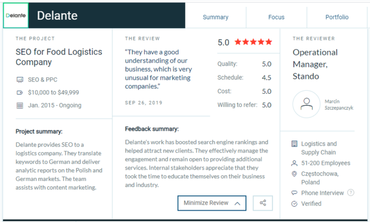 sample business review in SEO for Delante.co