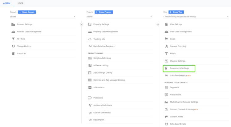 Ecommerce settings in google analytics