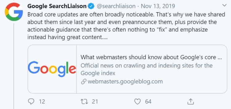 Google broad core updates