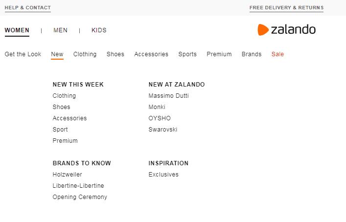 UX menu at Zalando