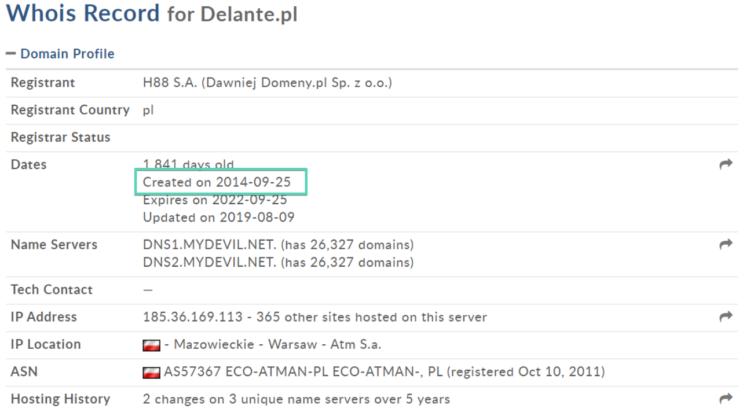 Delante - domain age