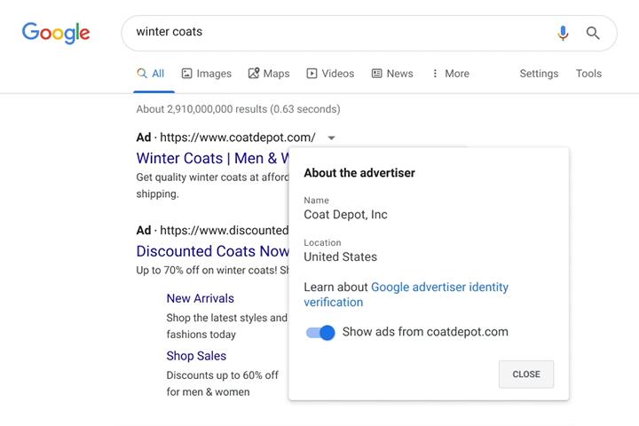 Advertisers verification - Google