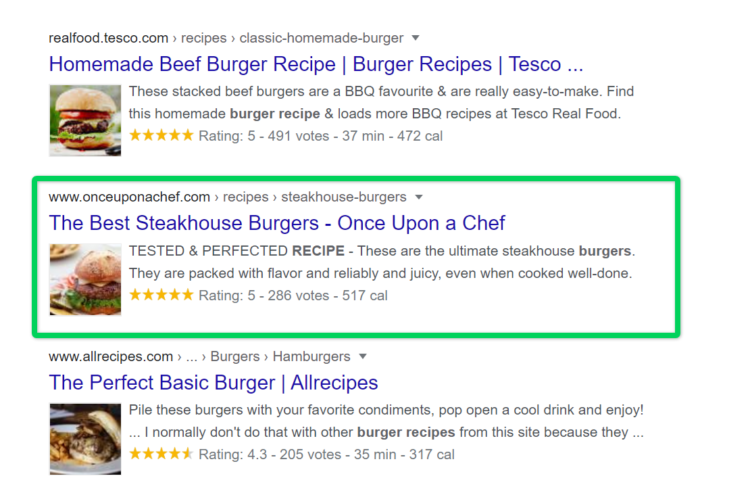Example of how breadcrumbs improve UX - burger recipe search results