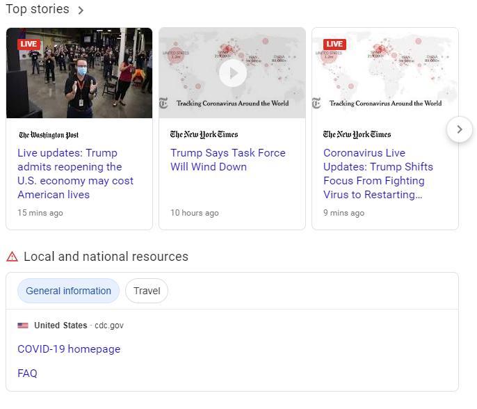 Coronavirus news - Google search results local
