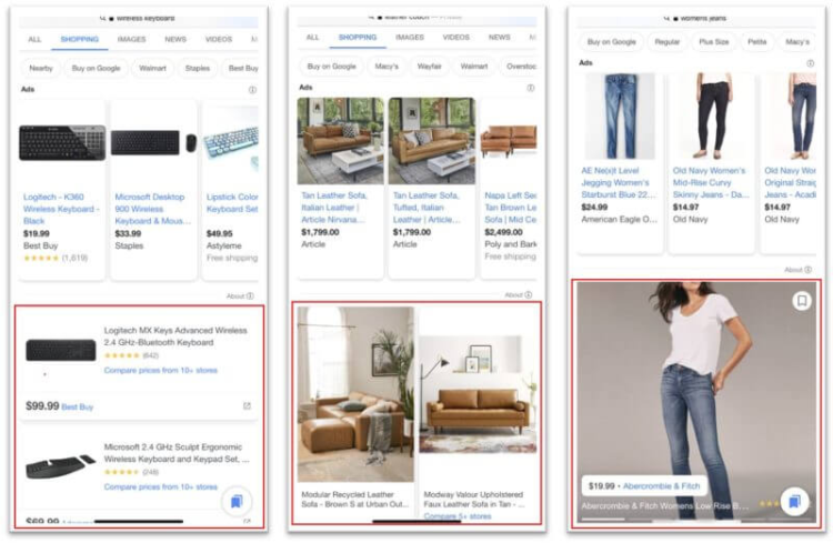 Ad Fromats in Google Shopping