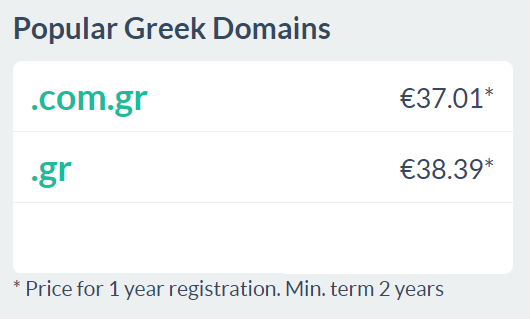 Domains in Greece
