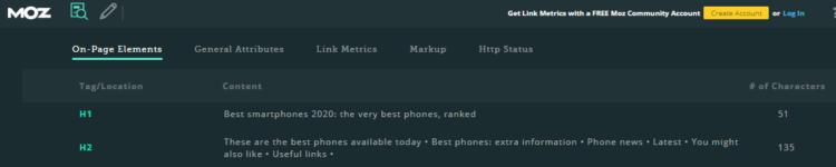 screen capture of MozBar showing website subheadings