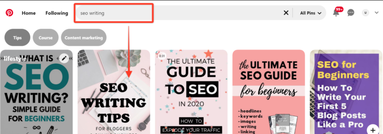 Pinterest for SEO - use keywords to help users find your content