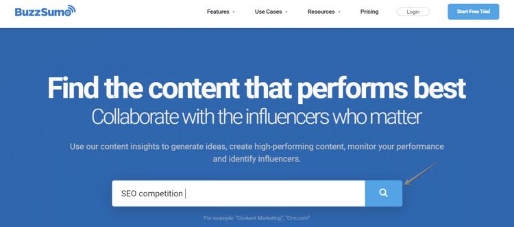 Competitor Analysis tools - BuzzSumo