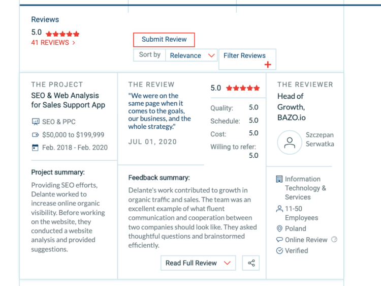 a screenshot showing the customer review on the Delante's Clutch profile