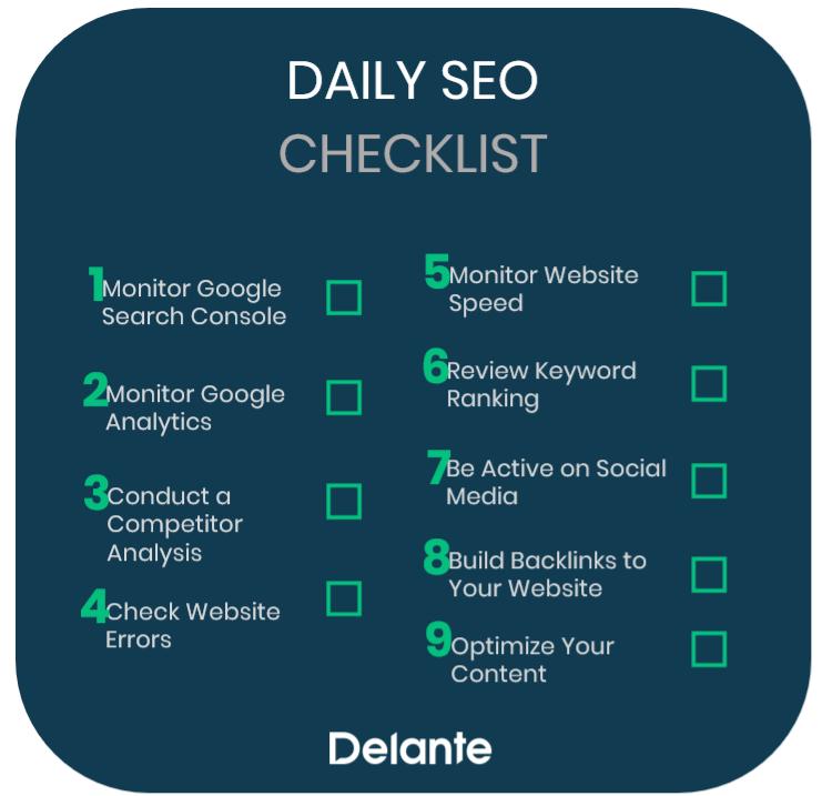 Daily SEO Checklist from Delante