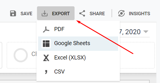 a screenshot showing how to export URLs from Google Analytics to find orphaned web pages