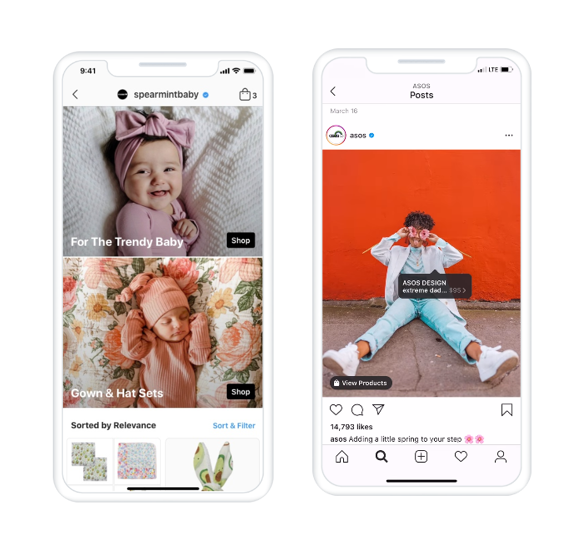 Screenshots of Instagram Shopping features