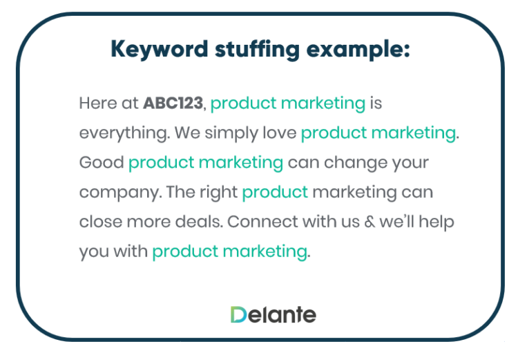 Basic keyword stuffing example. With with Delante to avoid poor SEO practices