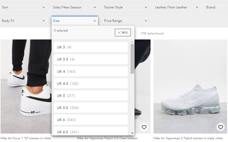 E-Commerce - product filtering by size
