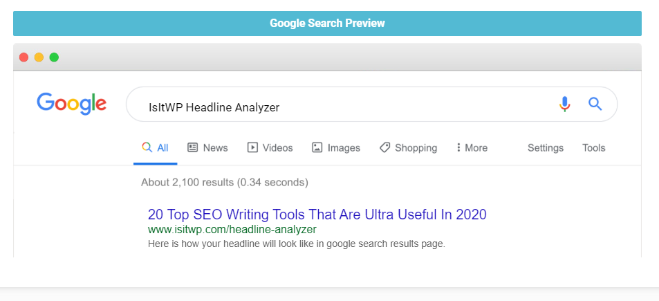 a screenshot from IsItWP Headline Analyzer - showing how the headline looks on Google search result