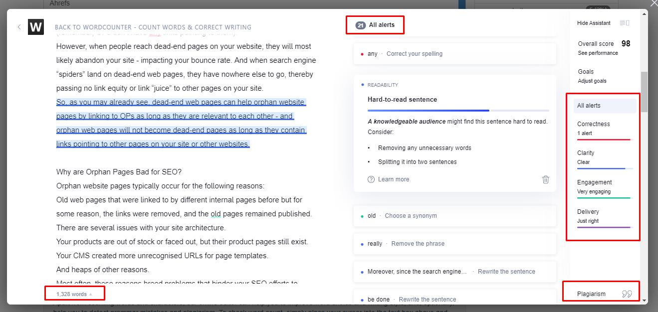 a screenshot of Grammarly - a writing analysis tool
