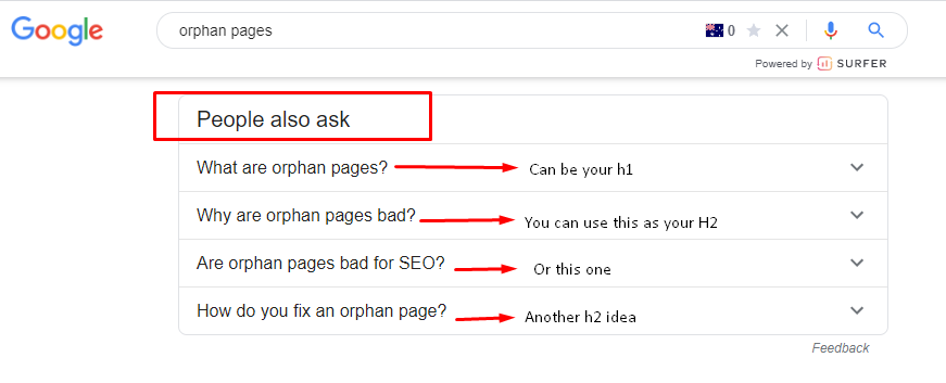 a screenshot of Google's People Also Ask section - one of the top content writing tools for SEO