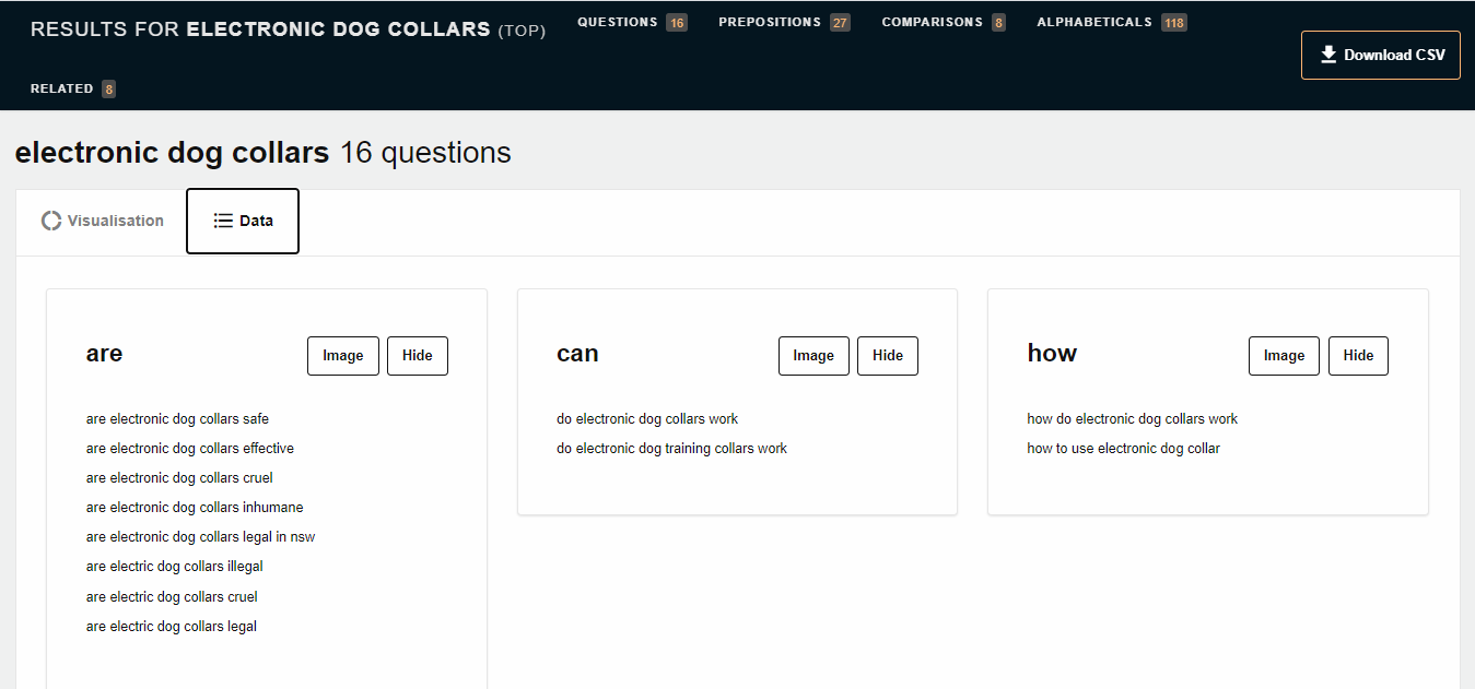 a screenshot from Answer The Public - one of the best SEO tools for topic research