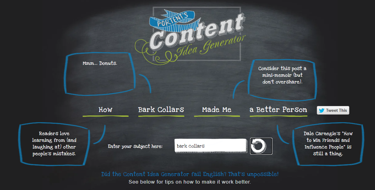 a screenshot of Portent's Content Idea Generator - one of the top SEO writing tools
