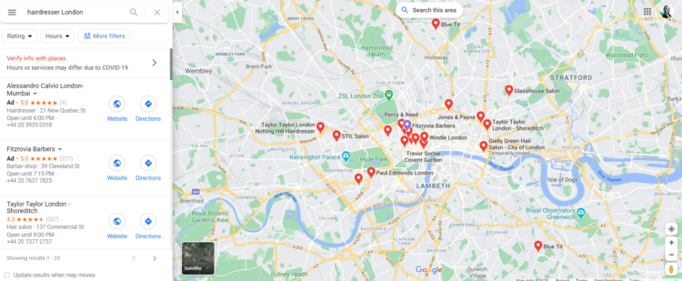 screenshot from Google My Business search result - Google Maps