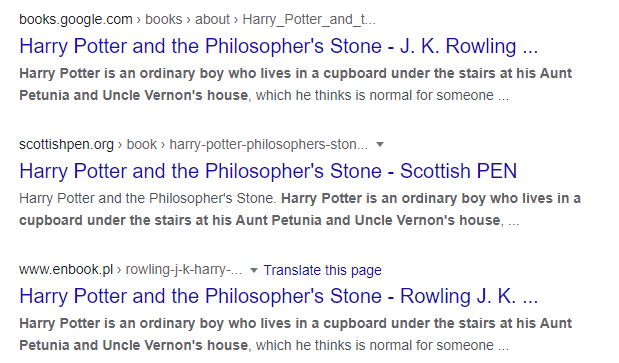 SERP for Harry Potter first sentence search