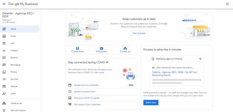 Google My Firm - Admin dashboard