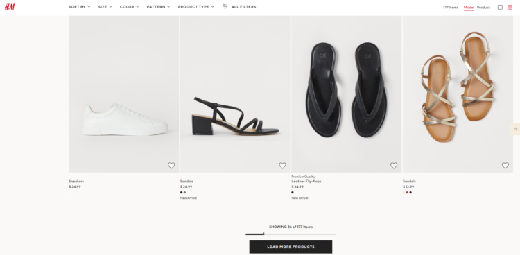 An example of Infinite Scroll in H&M online Store