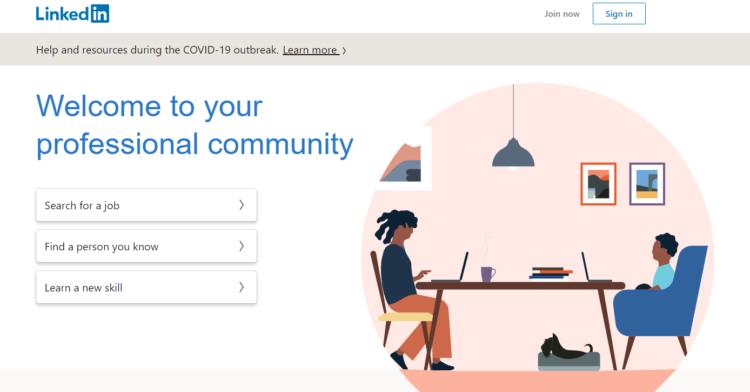 Social media conversion - a screenshot of linkedin main page