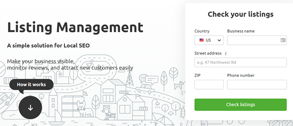 off-page SEO - screenshot of a SEMrush tool for checking your local listings