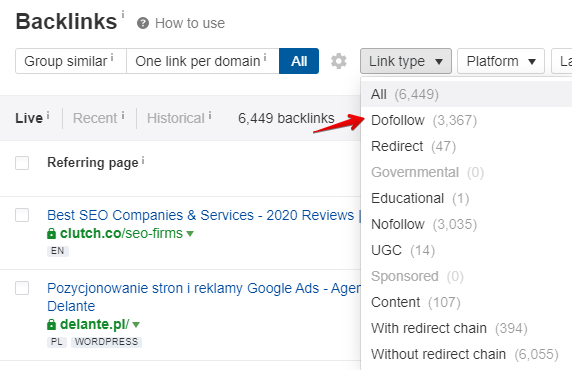 Off-page SEO - how to check the number of do and nofollow links on the site in Ahrefs tool